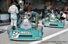 BRM P160s of Beltoise & Migault  in pits Argentina GP 1974